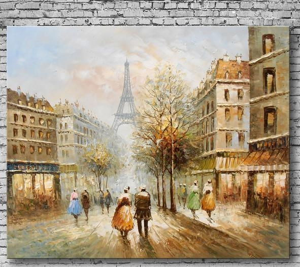 Compare Prices On Paris Street Scene Oil Painting Online Shopping Inside Street Scene Wall Art (View 5 of 20)