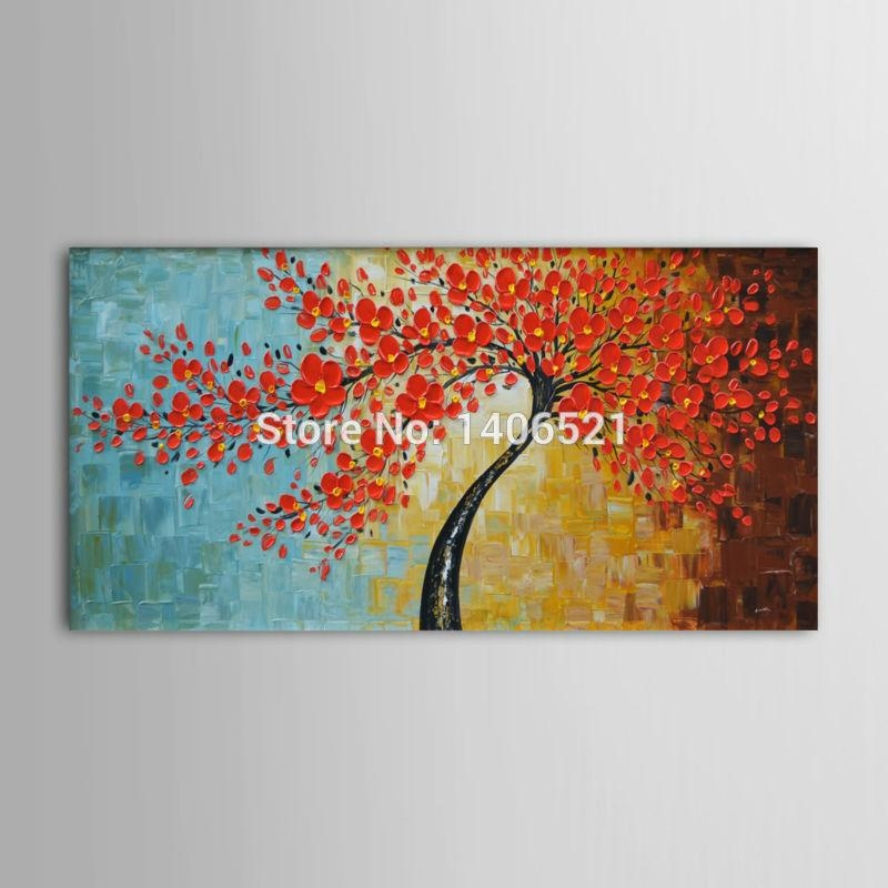 Compare Prices On Wall Decor Oil Painting Cherry Blossom  Online With Regard To Red Cherry Blossom Wall Art (Image 12 of 20)