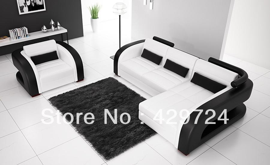 Compare Prices On White Leather Sofas Online Shopping/buy Low Pertaining To Black And White Leather Sofas (Image 13 of 20)