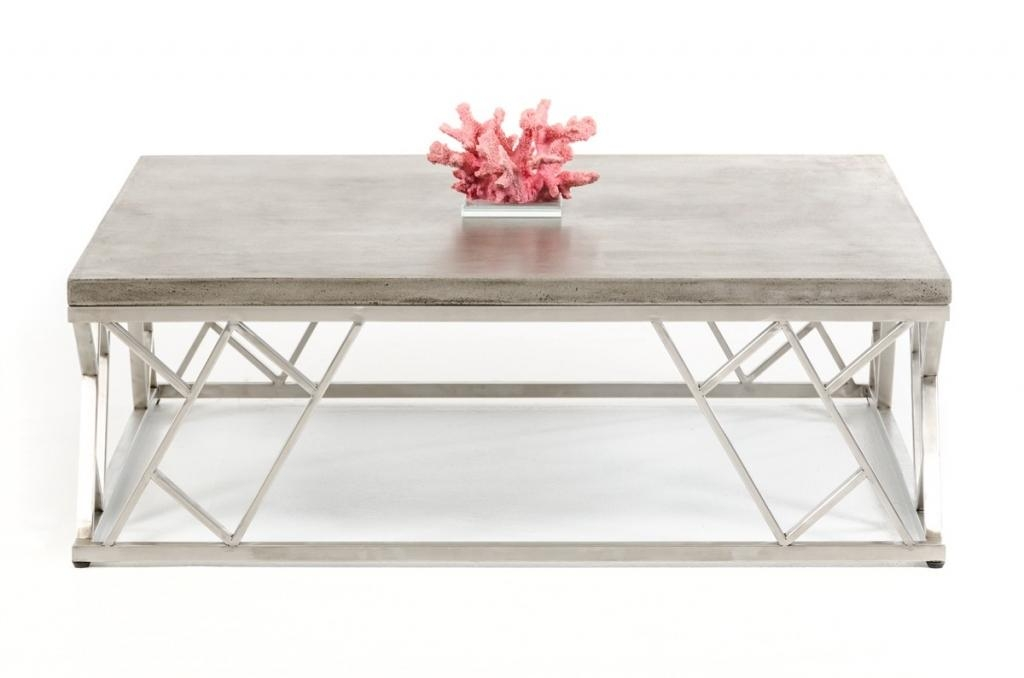 Concrete Chrome Coffee Table | Modern Furniture • Brickell Collection Within Chrome Sofa Tables (Image 6 of 20)