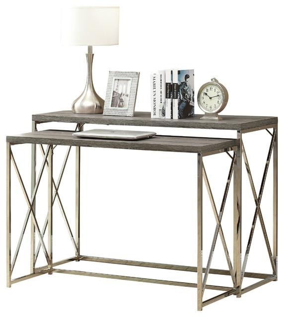 Console Table, 2 Piece, Cappuccino With Chrome Metal Pertaining To Chrome Sofa Tables (Image 7 of 20)