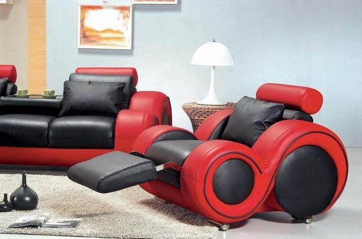 Contemporary Black And Red Leather Sofa Set Missouri – $2, (Image 8 of 20)
