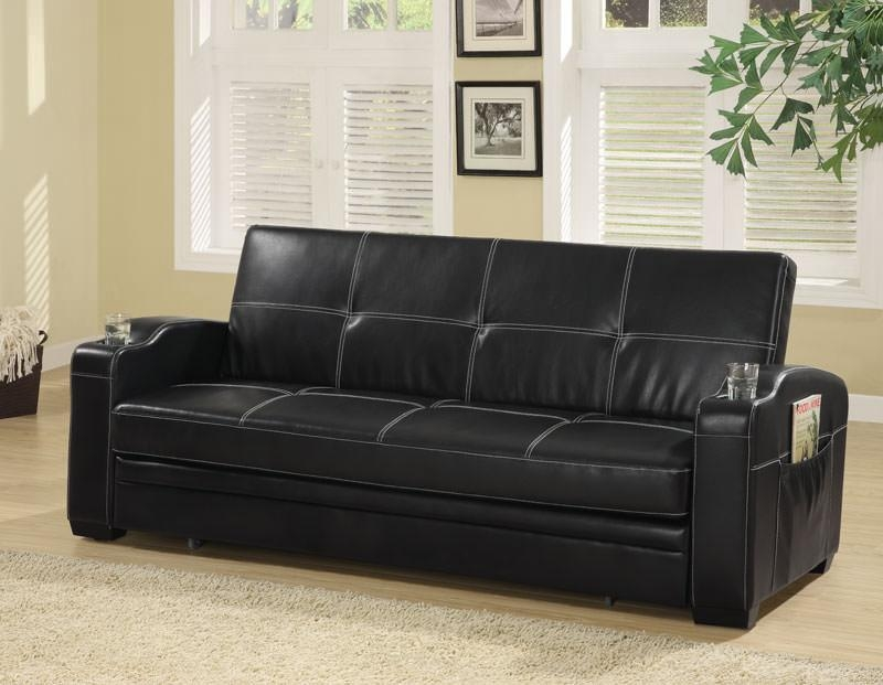 Contemporary Black Vinyl Sofa Bedcoaster For Black Vinyl Sofas (Image 8 of 20)