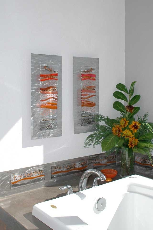 Contemporary Glass Wall Art, Fused Glass & Metal Wall Art,kim Inside Contemporary Bathroom Wall Art (View 7 of 20)