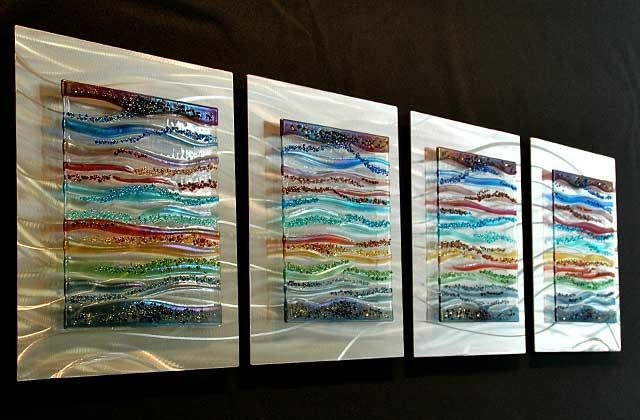 Contemporary Glass Wall Art, Fused Glass & Metal Wall Art,kim Inside Fused Glass Wall Art Hanging (Image 16 of 20)