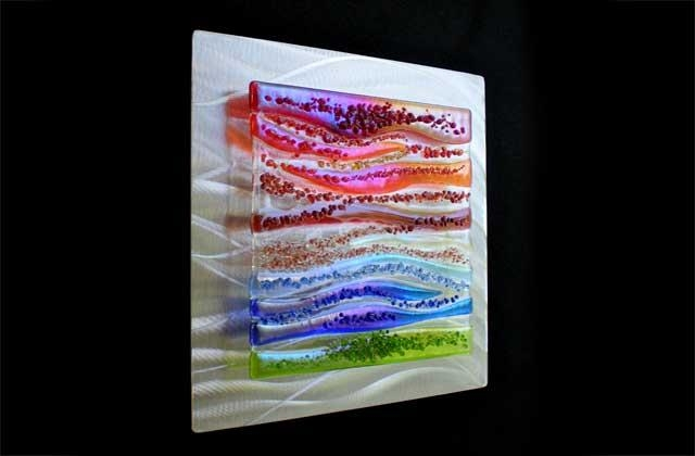 Contemporary Glass Wall Art, Fused Glass & Metal Wall Art,kim Regarding Fused Glass Wall Art (View 15 of 20)