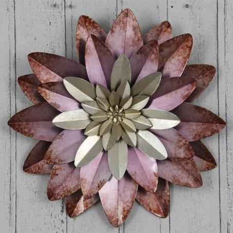 Contemporary 'layered Purple Flower' Metal Wall Art For Purple Flower Metal Wall Art (Image 5 of 20)