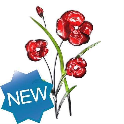Contemporary Metal Wall Art Red Poppy Bunch | Wall Art With Metal Poppy Wall Art (View 10 of 20)