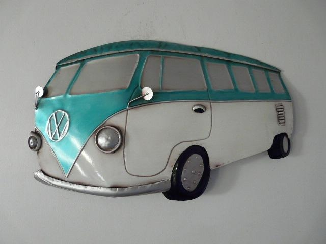 "Contemporary Metal Wall Art ""vw Campervan Teal"" 