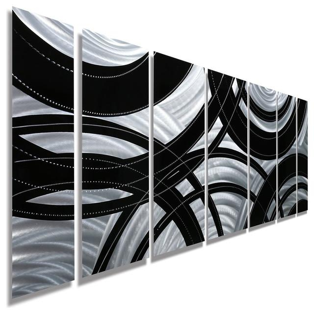 "Contemporary Silver And Black Panel Metal Wall Art, ""crossroads Regarding Black Silver Wall Art (Image 9 of 20)"