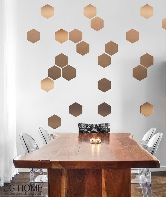 Copper Hexagon Decoration Gold Geometric Honeycomb Wallcghome Inside Modern Vinyl Wall Art (View 11 of 20)