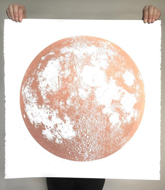 Copper Moon Print Wall Art Full Moon Large Screenprint With Large Copper Wall Art (Image 12 of 20)