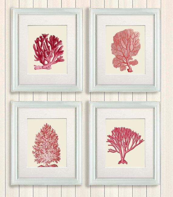 Coral Print Set 4 Red Coral Art Prints Nautical Print Coral Inside Wall Art Print Sets (View 13 of 20)