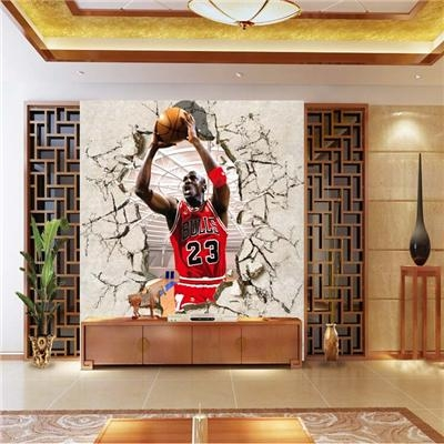 Corridor Of 3D Nba Basketball Star Jordan Gym Background Wallpaper In Nba Wall Murals (Image 8 of 20)