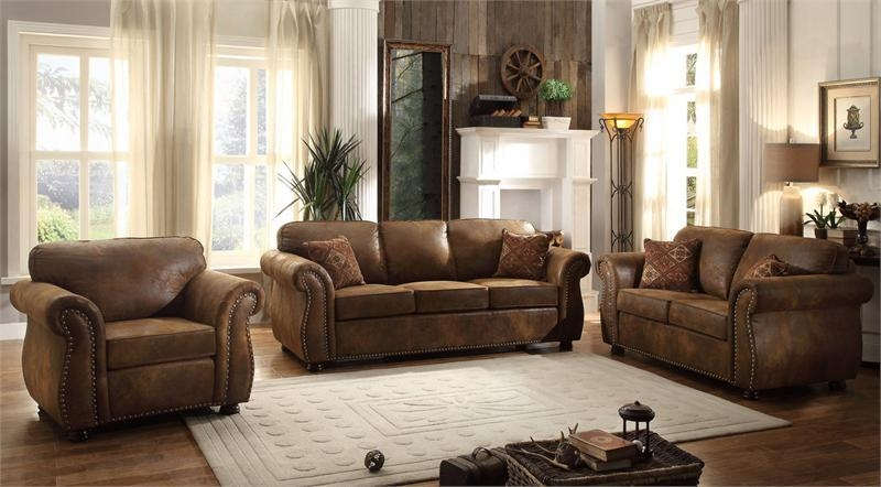 Corvallis Brown Bomber Jacket Sofa Set Collection For Bomber Leather Sofas (Image 4 of 20)