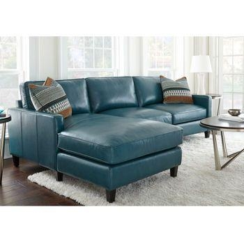 Costco: Andersen Leather Chaise Sectional – Peacock ($2199 After In Green Leather Sectional Sofas (Image 9 of 20)