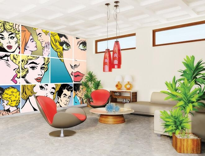 Couples Kissing Pop Art Wallpaper Mural | Plasticbanners In Pop Art Wallpaper For Walls (View 9 of 20)