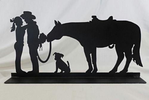 Cowboy Courting Sculpture, Romance Western Metal Art Silhouette In Western Metal Art Silhouettes (Image 9 of 20)