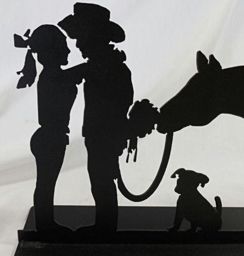 Cowboy Courting Sculpture, Romance Western Metal Art Silhouette Throughout Western Metal Art Silhouettes (Image 10 of 20)
