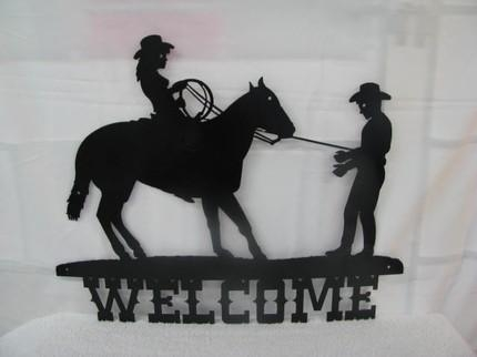 Cowgirl And Cowboy Welcome Metal Wall Yard Art Western Silhouette With Regard To Western Metal Wall Art Silhouettes (Image 3 of 20)