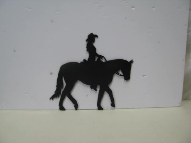 Cowgirl Horse 001 Western Metal Wall Art Silhouette On Handmade With Regard To Western Metal Wall Art Silhouettes (Image 5 of 20)