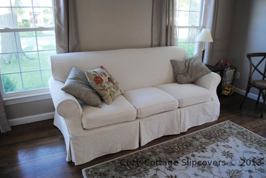 Cozy Cottage Slipcovers: Natural Brushed Canvas Sofa Slipcover Throughout Canvas Sofa Slipcovers (View 3 of 13)