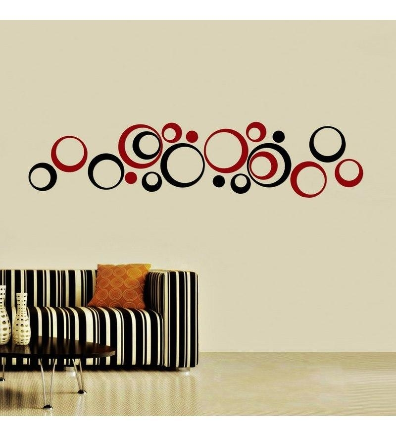 Creative Width Polka Acrylic Black & Red 3D Wall Art Sticker Small In 3D Circle Wall Art (Image 15 of 20)