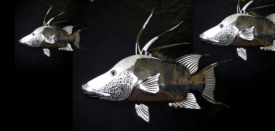 Custom Artwork, Sculptures And Furniture Gallery For Stainless Steel Fish Wall Art (Image 7 of 20)