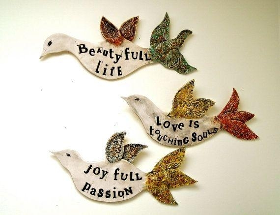 Custom Ceramic Pottery Poetry Bird Wall Hanging Sculpture Fine Art In Ceramic Bird Wall Art (View 20 of 20)