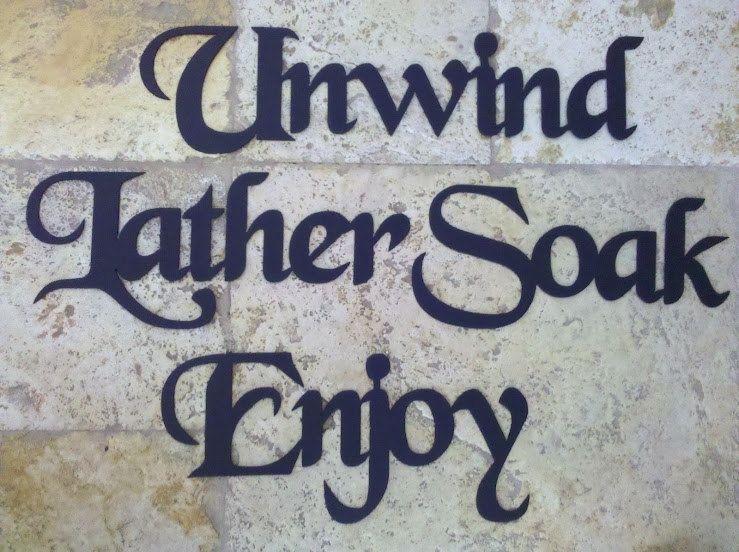 Custom Made Bath Set Words: Unwind Lather Soak Enjoy Metal Wall With Metal Wall Art For Bathroom (Image 12 of 20)