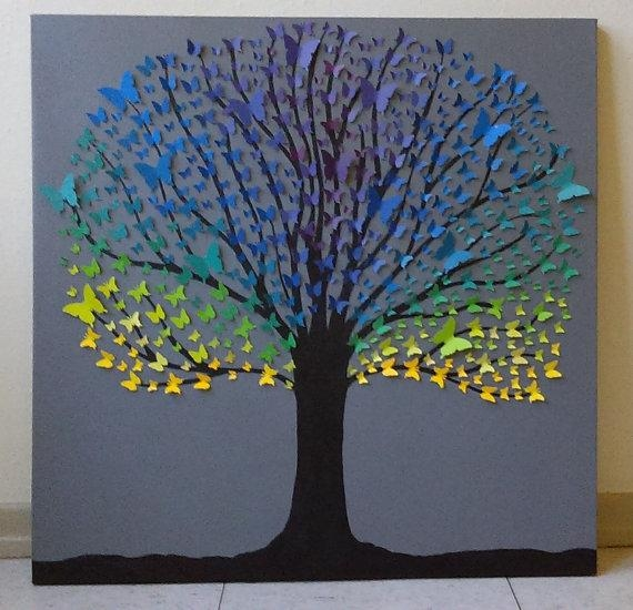 Custom Made To Order 3D Wall Art Butterfly Tree In 3D Tree Wall Art (Image 15 of 20)