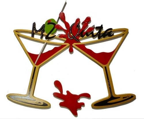 Custom Name Splash Martini Glasses Wood Wall Sculpture Diva Wall In Martini Glass Wall Art (Image 7 of 20)