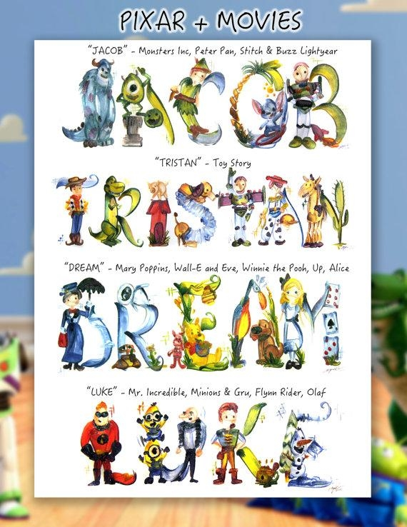 Custom Pixar Name Painting Up Toy Story Monster Inc Throughout Toy Story Wall Art (View 20 of 20)