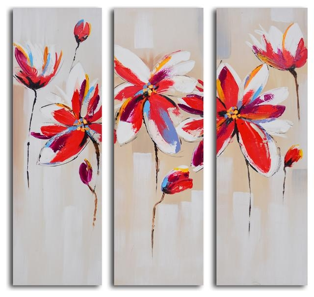"Dalliance Of Red Florals"" Hand Painted 3 Piece Canvas Set In 3 Piece Modern Wall Art (Image 11 of 20)"