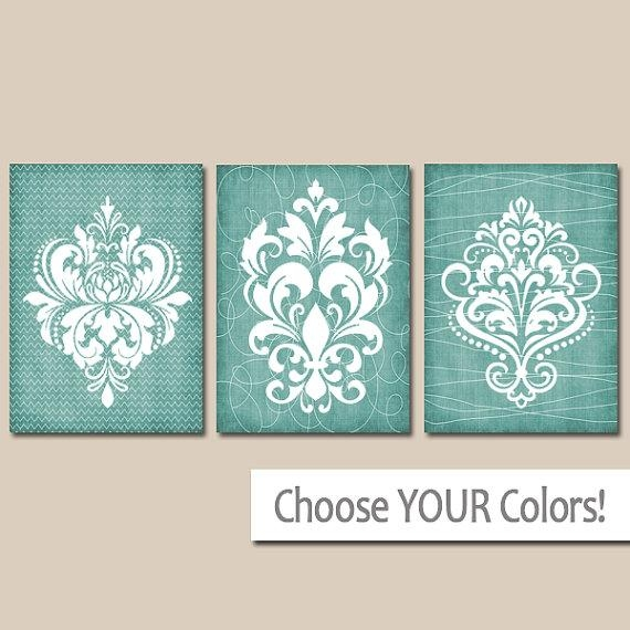 Damask Bathroom Wall Art Canvas Or Prints Aqua Bathroom Intended For French Country Wall Art Prints (Image 6 of 20)