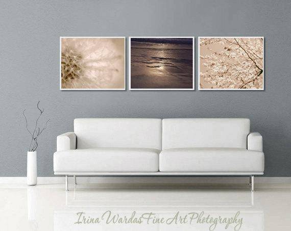 Dandelion Neutral Wall Art Nature Print Set | Nature Living Room Decor Inside Neutral Wall Art (Image 9 of 20)