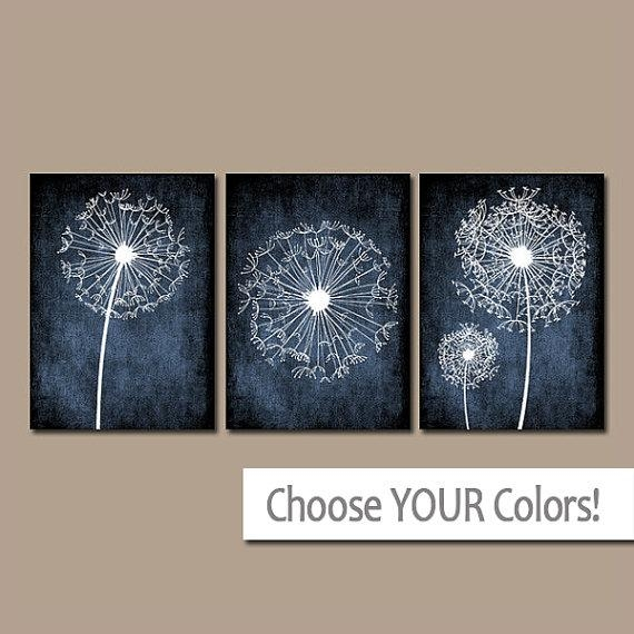 Dandelion Wall Art Bedroom Pictures Flower Navy Blue Throughout Navy Blue Wall Art (Image 11 of 20)