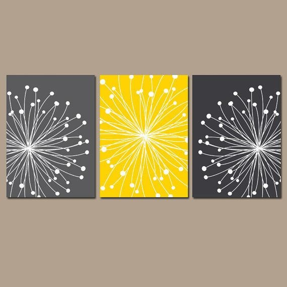 Dandelion Wall Art Canvas Or Prints Gray From Trm Design | Wall Inside Gray And Yellow Wall Art (Image 9 of 20)