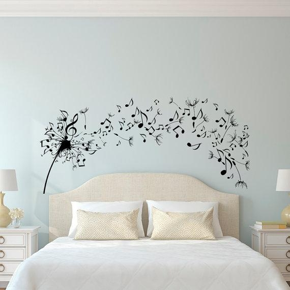 Dandelion Wall Decal Bedroom Music Note Wall Decal Dandelion For Music Note Wall Art (View 12 of 20)