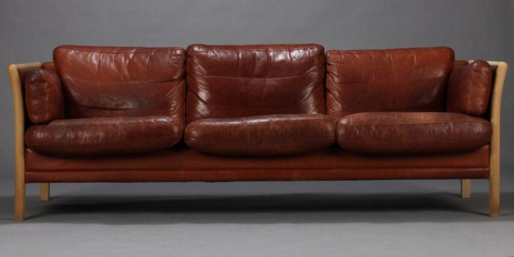Danish Leather Sofa With Slated Sides : Seating : Apollo Antiques Throughout Danish Leather Sofas (Image 8 of 20)