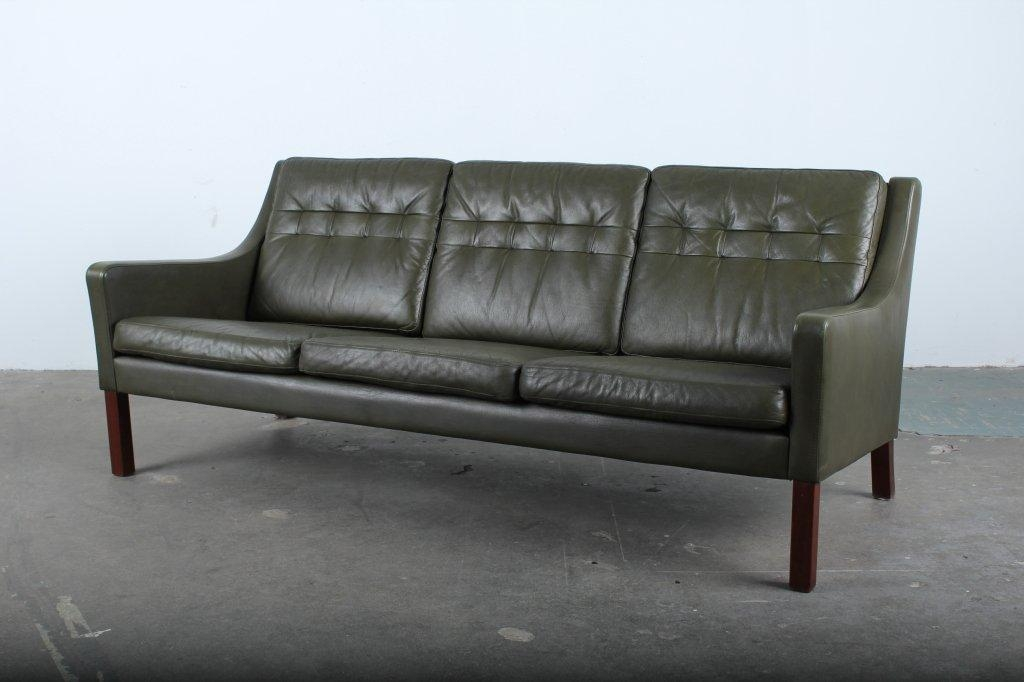 Danish Mid Century Modern Green Leather Sofa At 1Stdibs In Danish Leather Sofas (Image 9 of 20)