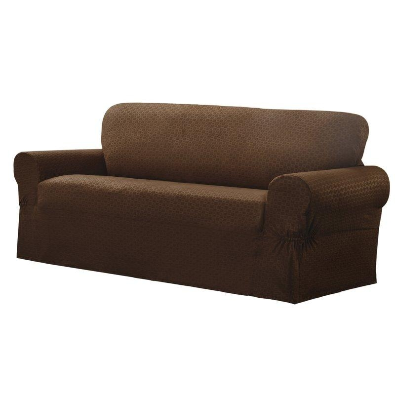 Darby Home Co Box Cushion Sofa Slipcover & Reviews | Wayfair For Sleeper Sofa Slipcovers (Image 2 of 20)