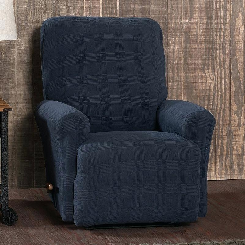 Dark Blue Recliner – Mthandbags Within Navy Blue Slipcovers (Image 7 of 20)