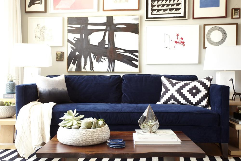 Dark Blue Sofas And Emily And I Teamed Up With West Elm To Add In Emily Sofas (Image 7 of 20)
