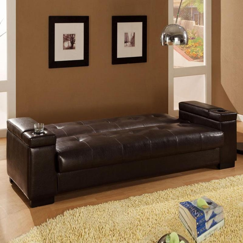 Dark Brown Faux Leather Storage Sinuous Spring Base Couch Sofa Bed For Faux Leather Futon Sofas (Image 15 of 20)