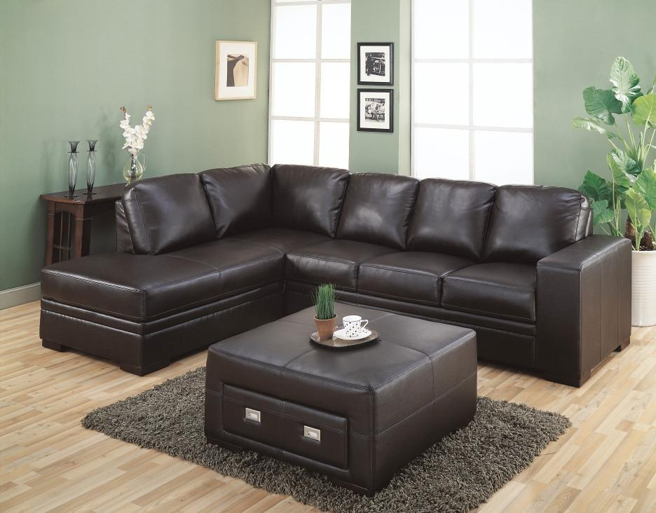 Dark Brown Short Sectional Sofa Combined Green Wall Paint Color Throughout Short Sectional Sofas (Image 3 of 20)