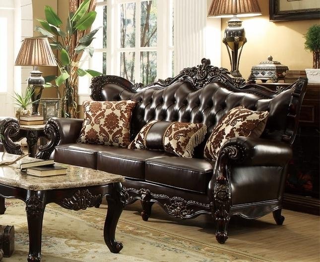 Dark Brown Tufted Leather Sofa With Carved Frame Designs With Brown Tufted Sofas (View 6 of 20)