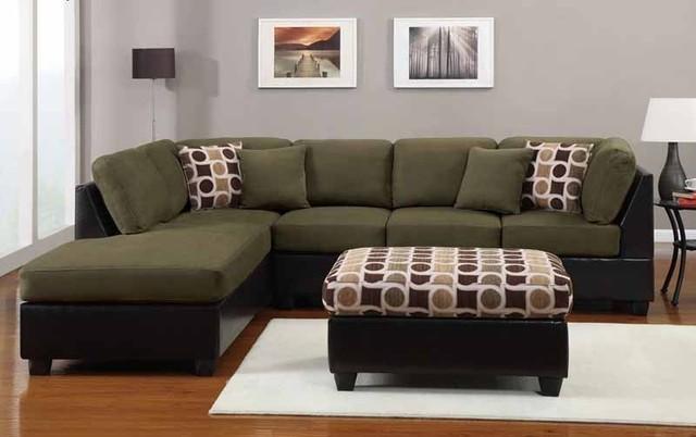 Dark Green Microfiber Sectional Sofa W Pertaining To Microfiber Within Green Microfiber Sofas (Image 4 of 20)