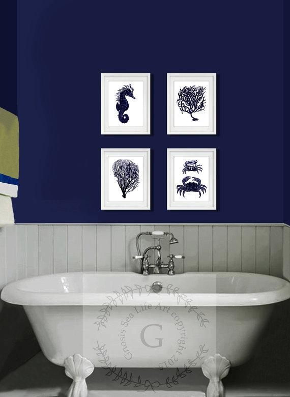 Dark Navy Blue And White Wall Art Set Of 4 Sea Coral Regarding Dark Blue Wall Art (Image 16 of 20)