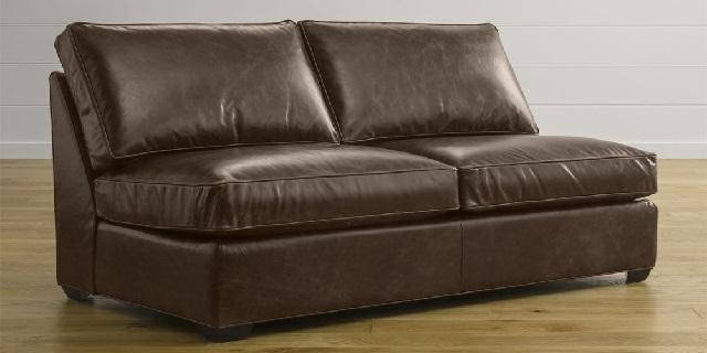 Davis Leather Armless Full Sleeper Sofa With Air Mattress Crate Intended For Davis Sleeper Sofas (Image 8 of 20)